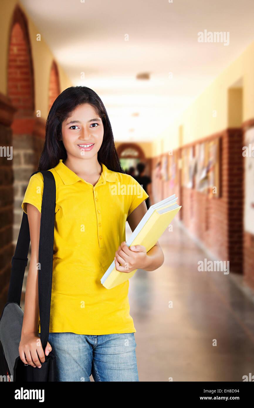 1 Indian Young Girl Teenager College Student College Coridoor Standing