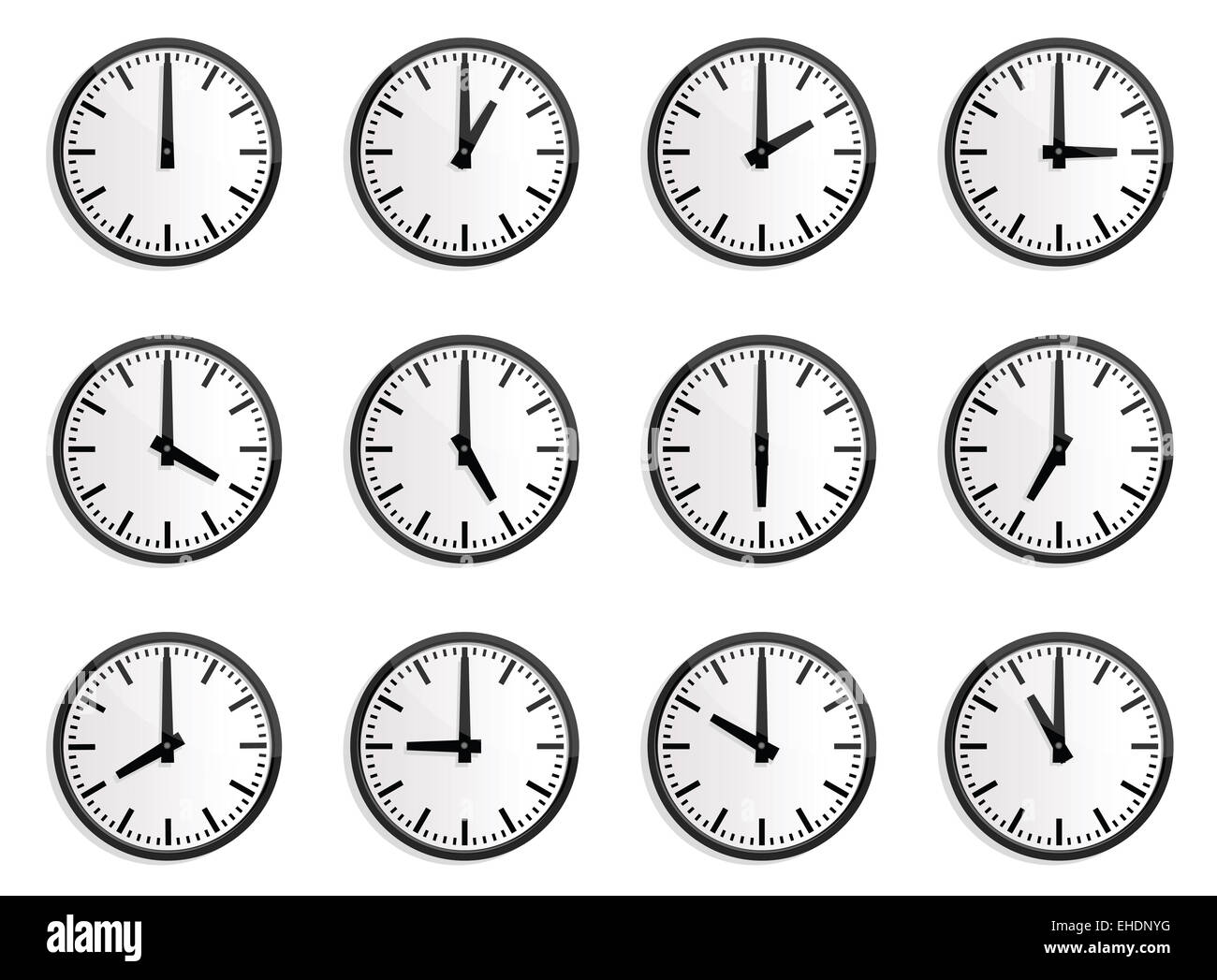 12 Hours Clock Stock Photo Royalty Free Image