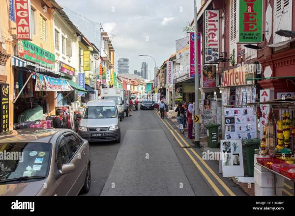 shopping street in the Little Indian district in Singapore ...