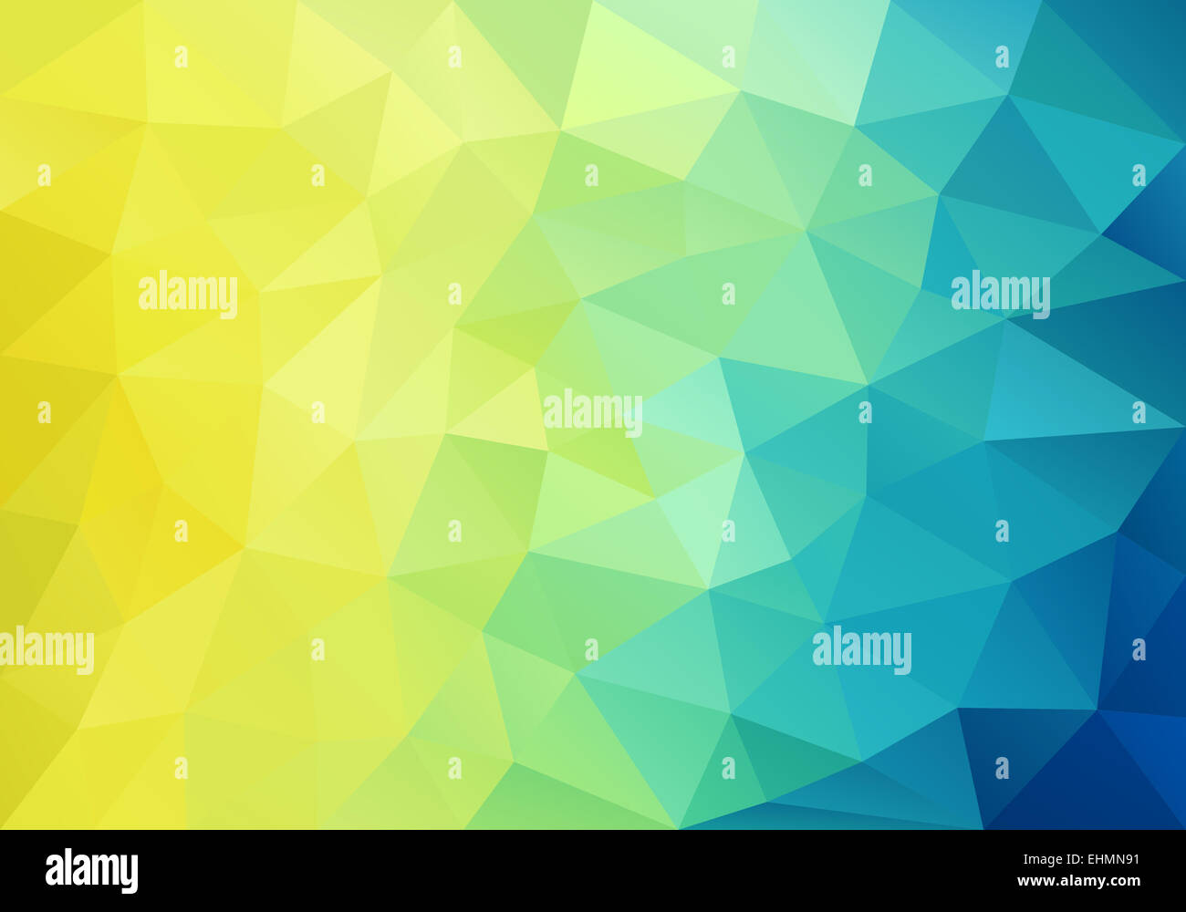 Abstract Yellow Blue And Green Low Poly Background
