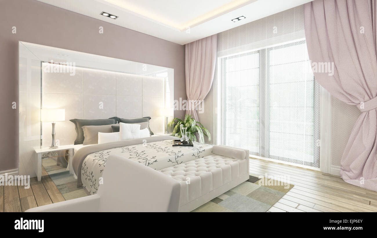 https www alamy com stock photo modern bedroom design with pink wall and curtain 80393347 html