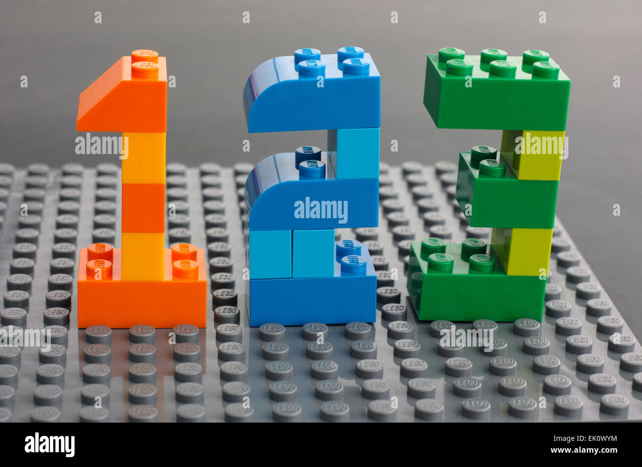 Lego Numbers Stock Photos   Lego Numbers Stock Images   Alamy Tambov  Russian Federation   March 27  2015 Lego custom numbers 1  2