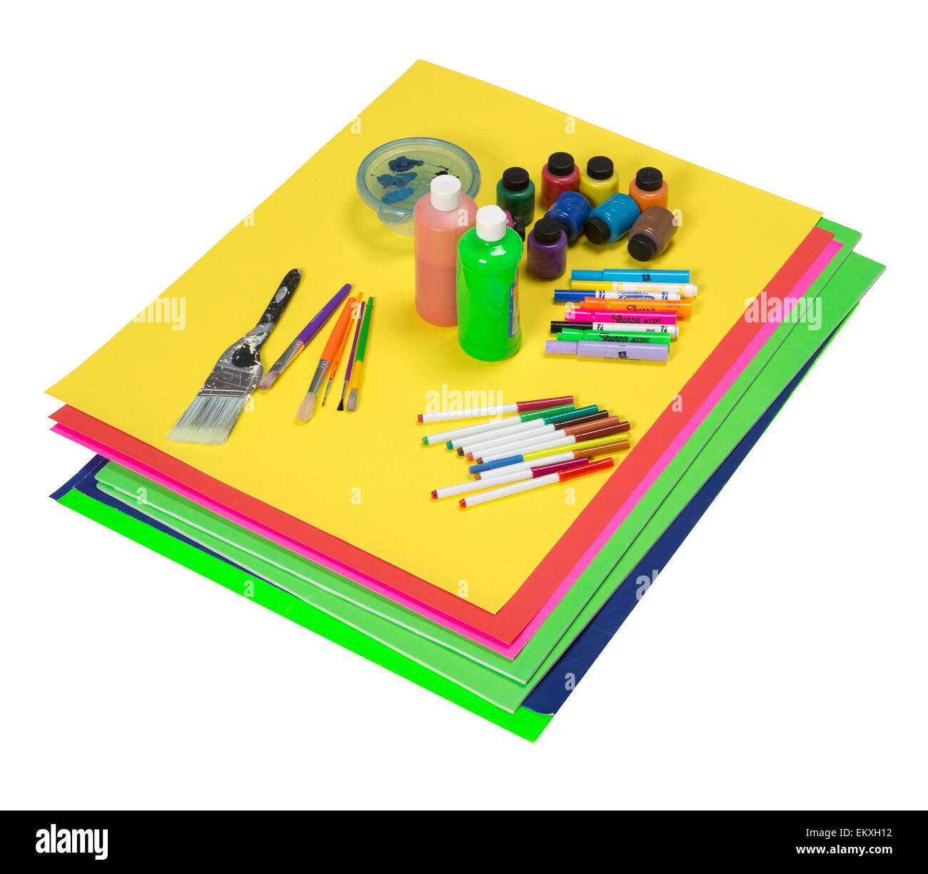 https www alamy com stock photo art supplies which include colorful poster boards paint markers and 81104046 html