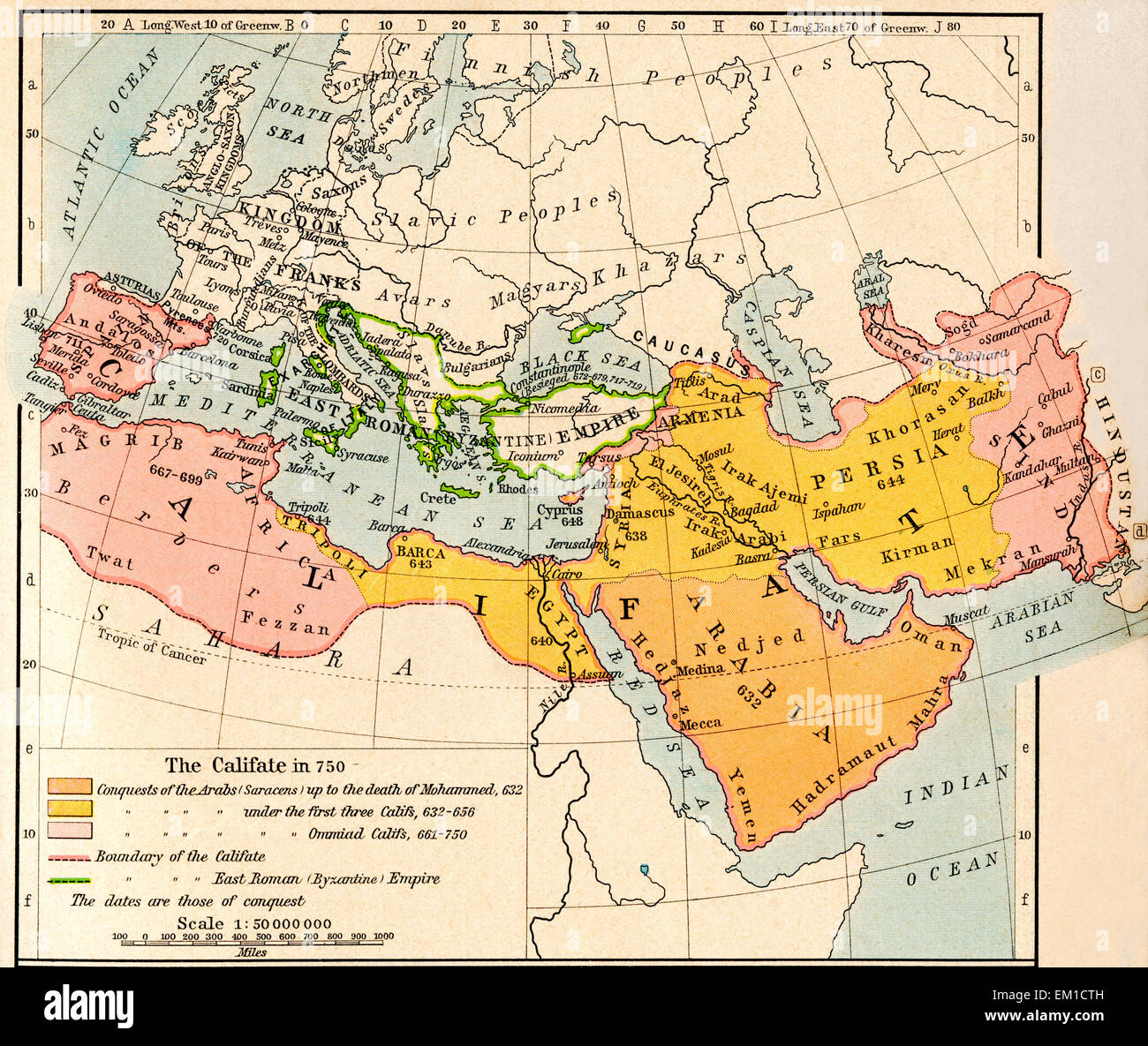 Map Of The Muslim Expansion And The Byzantine Empire At
