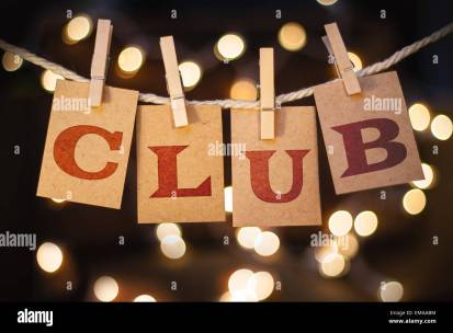 The word CLUB printed on clothespin clipped cards in front of Stock Photo -  Alamy