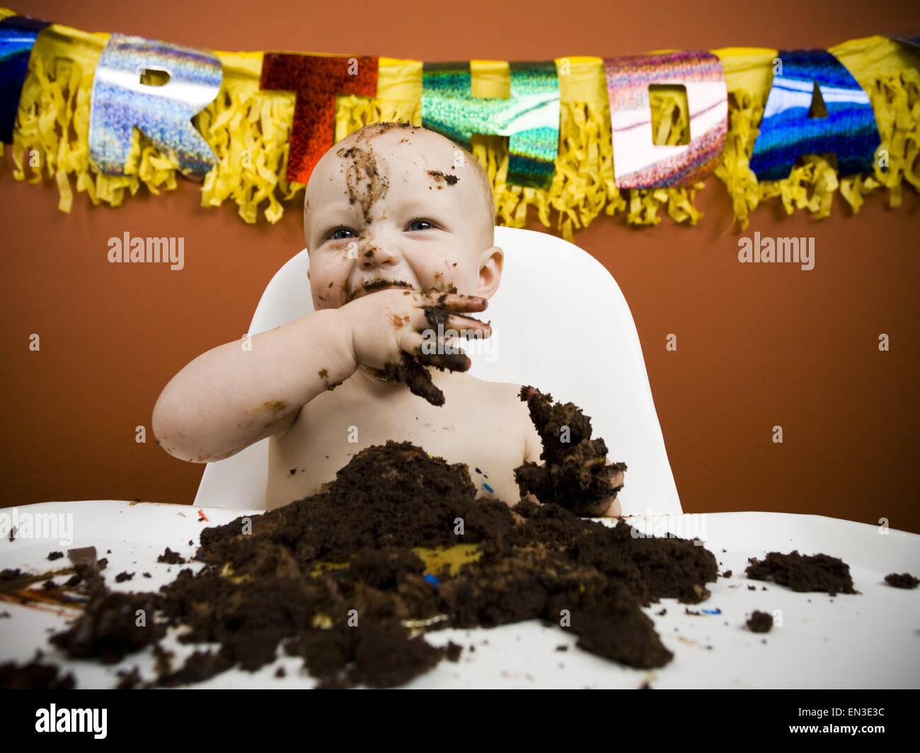 Baby Eating Birthday Cake Stock Photo 81826176 Alamy