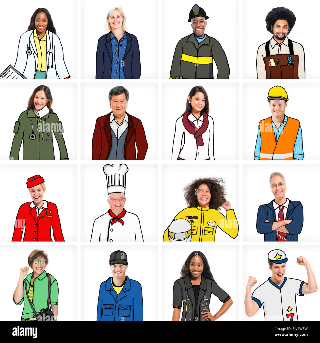 Portraits Of Diverse People With Different Jobs Stock