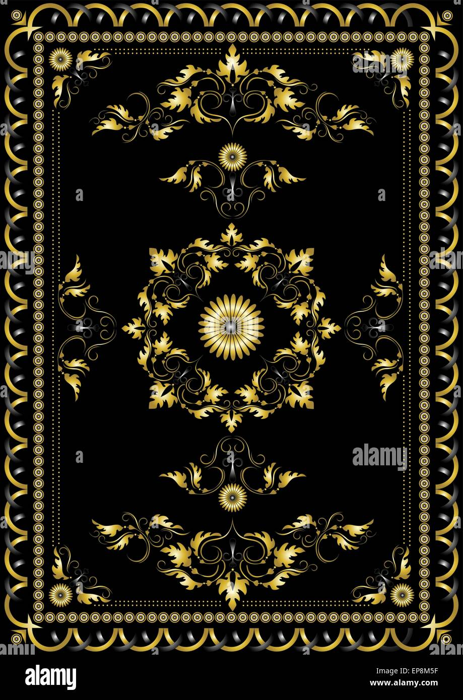Ornament Oriental Rugs With Golden Decor Stock Vector Art