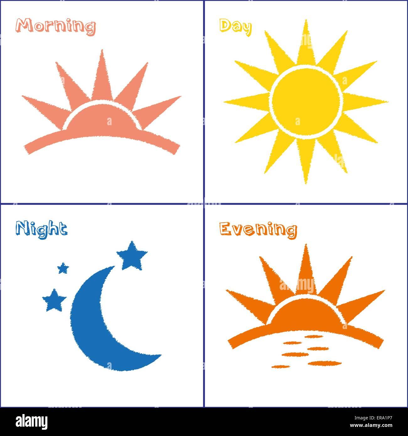 Sun And Moon Morning Day Evening Night Handdrawn Vector