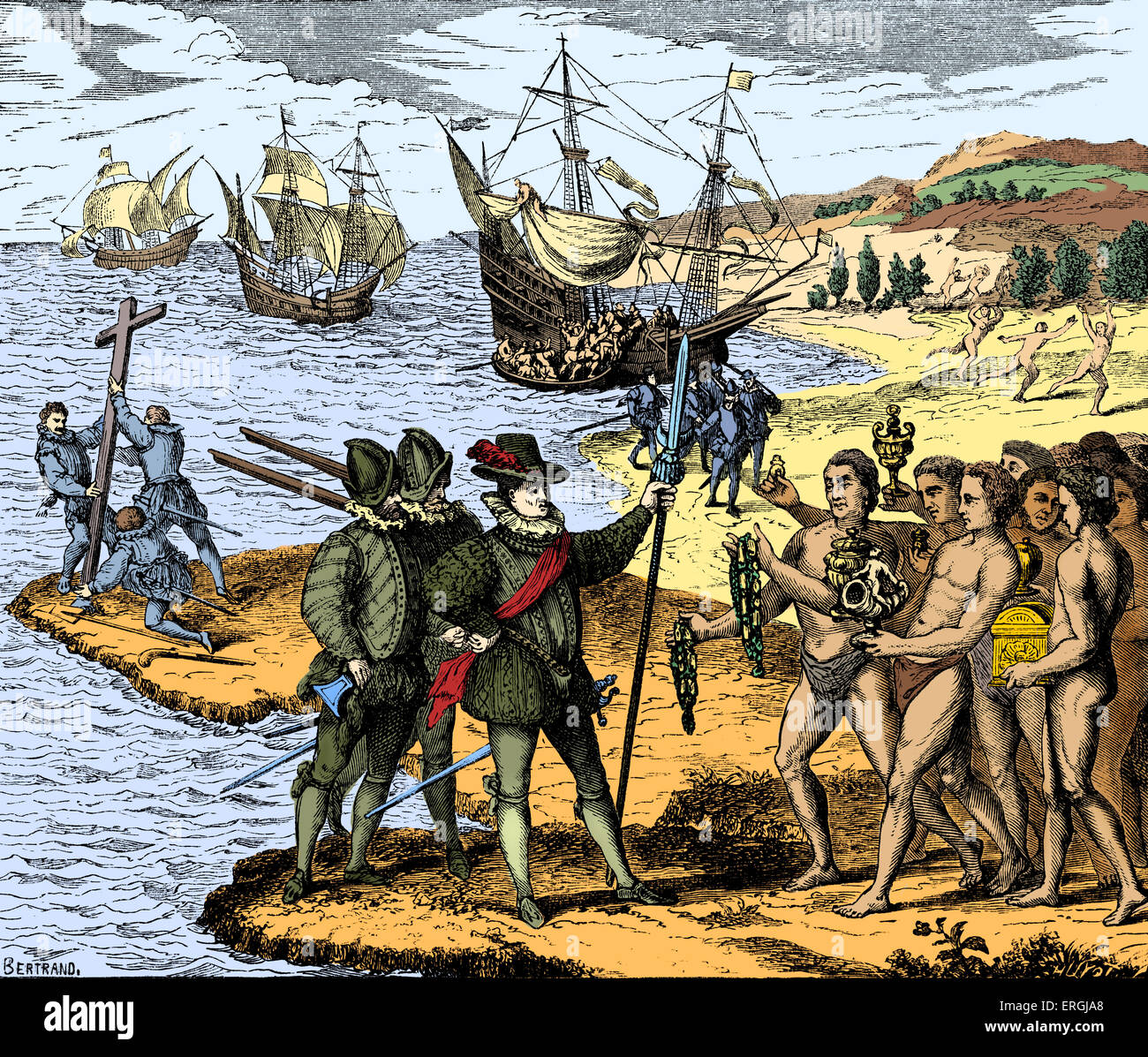 Christopher Columbus Setting Foot On American Soil For The First Time Stock Photo Royalty Free