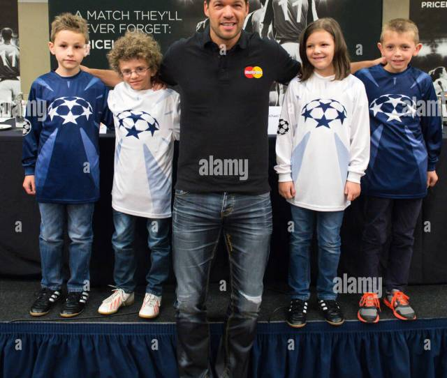 Berlin Germany Th June  Former Professional Soccer Player Michael Ballack Poses With Four Player Escort Kids L R Aurelio Jesse Leonie