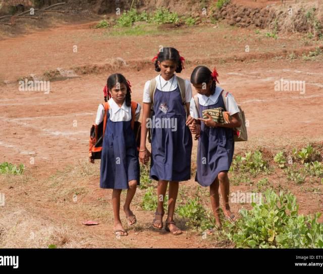 Girl Students Of Village School In Maharashtra India Nomr Stock Image