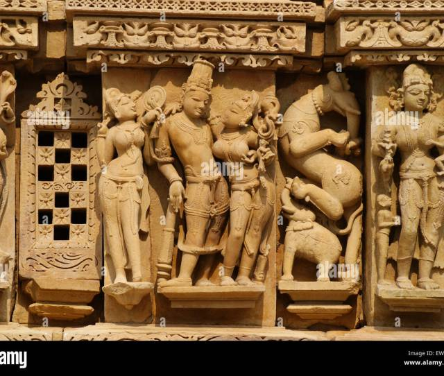 Romance And Love Historic Kama Sutra Statue Arts In Khajuraho Temple Walls At Madhya Pradesh India