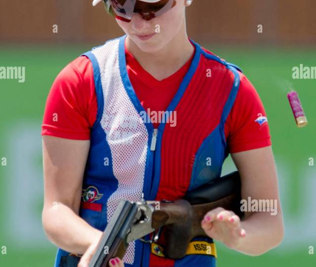 Libuse Jahodova From Czech Republic Competes In Mixed Team Skeet Shooting Semifinals At The Baku  St European Games In Baku Azerbaijan June