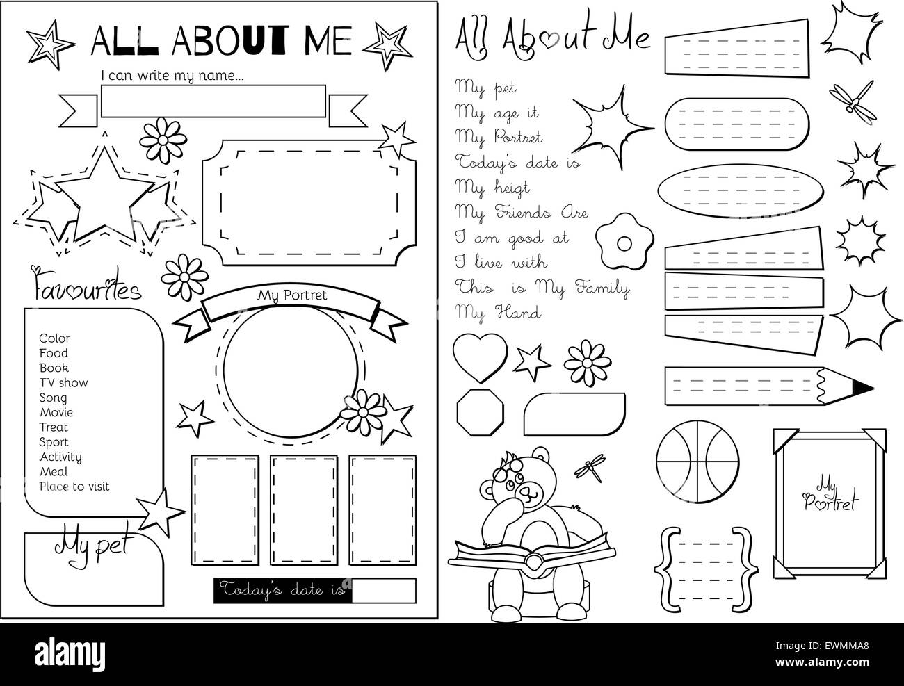 All About Me School Printable Stock Vector Art