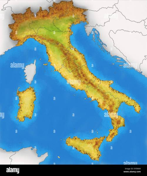 Physical Map of Italy illustration Stock Photo  85764401   Alamy Physical Map of Italy illustration
