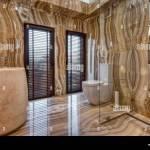 Modern Marble Bathroom Interior Stock Photo Alamy