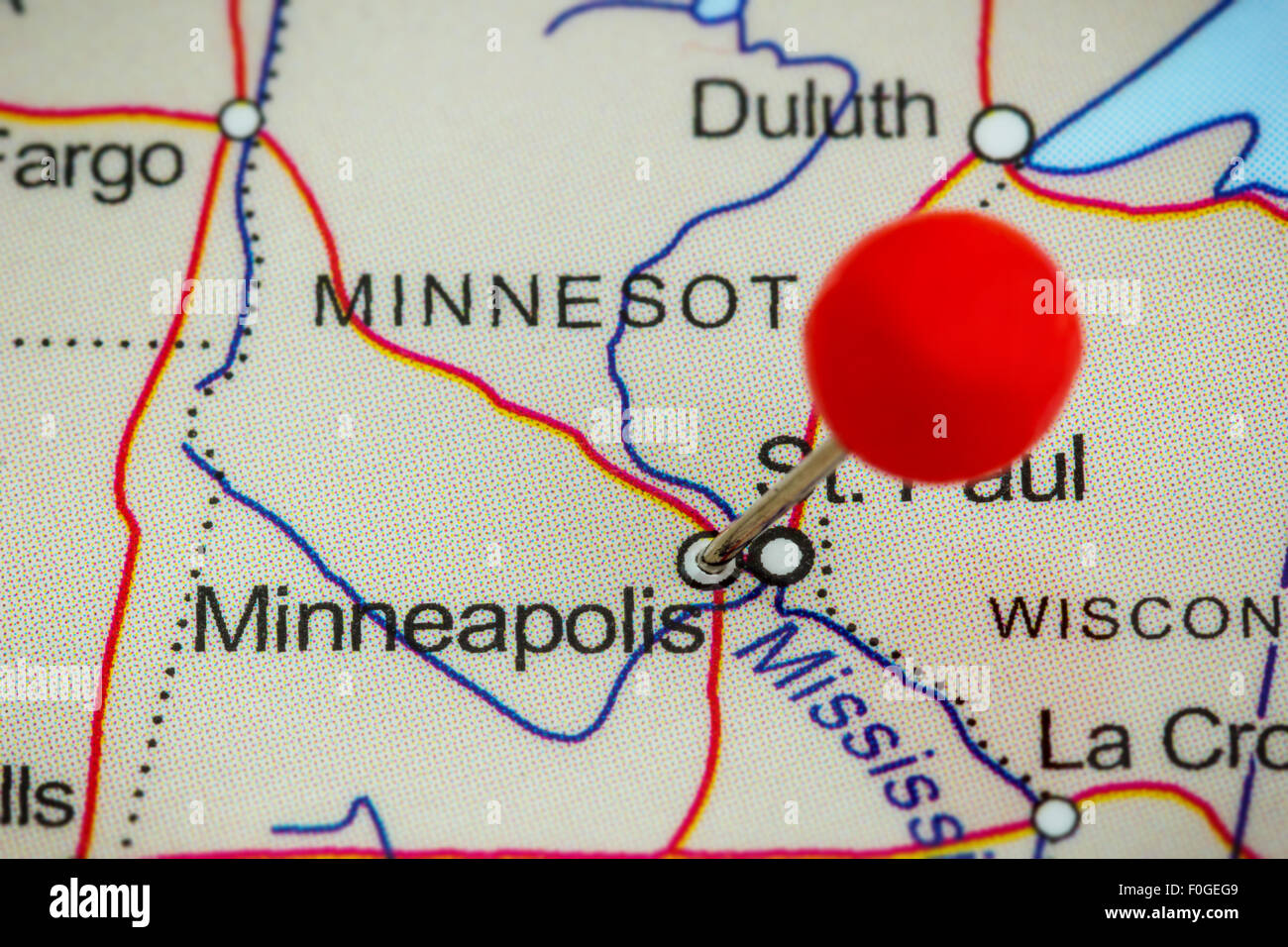 Map Of Minneapolis Stock Photos   Map Of Minneapolis Stock Images     Close up of a red pushpin on a map of Minneapolis  USA   Stock