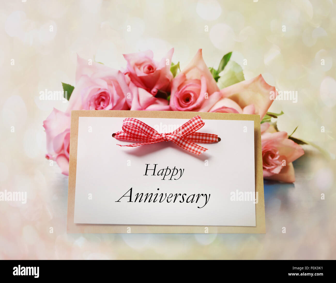 Happy Anniversary Greeting Card With Roses Stock Photo