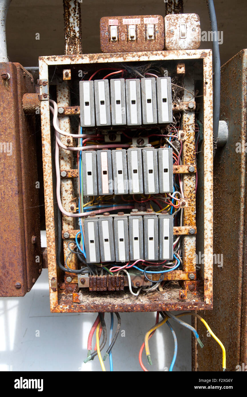 Old Rusty Electrical Fuse Box Uk Stock Photo