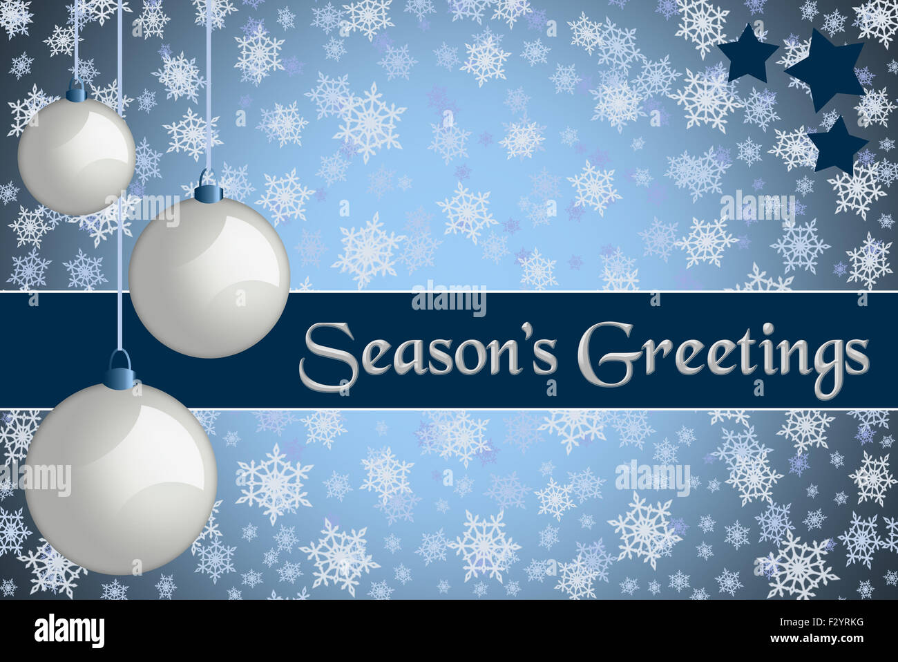 Christmas Greeting Card Seasons Greetings Blue Colored