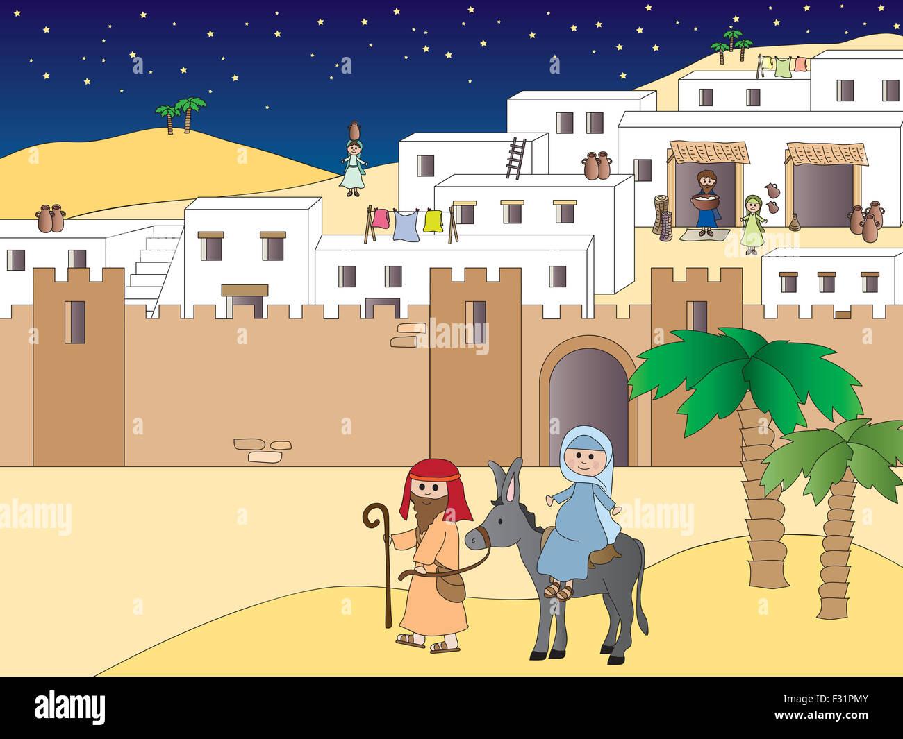 Illustration Of Mary And Joseph Travelling To Bethlehem Stock Photo Alamy