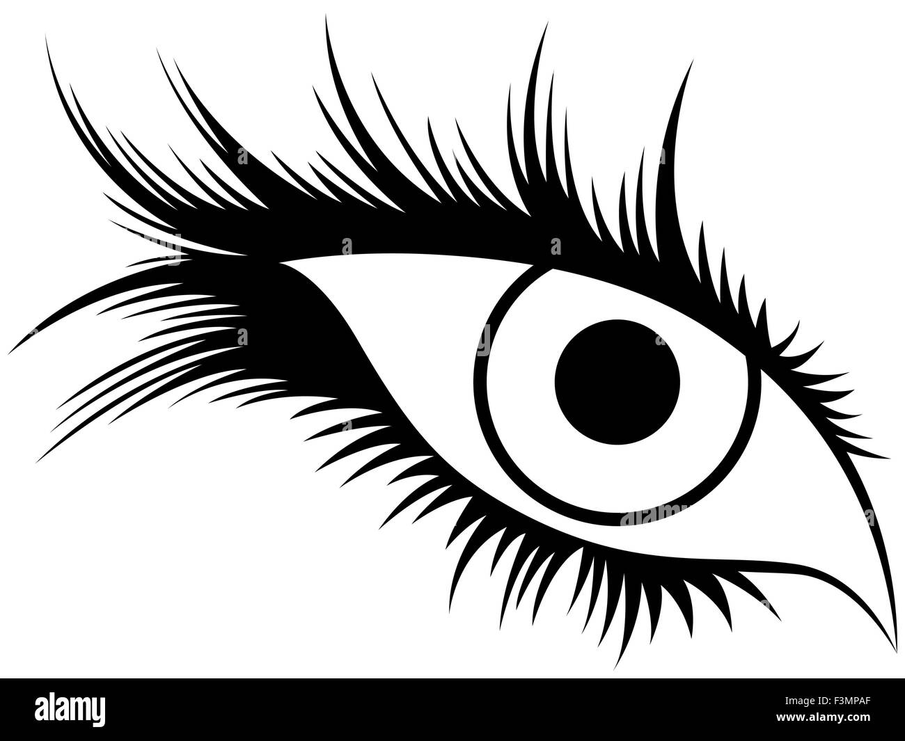 Abstract Black Silhouette Of Human Eye With Long Lashes