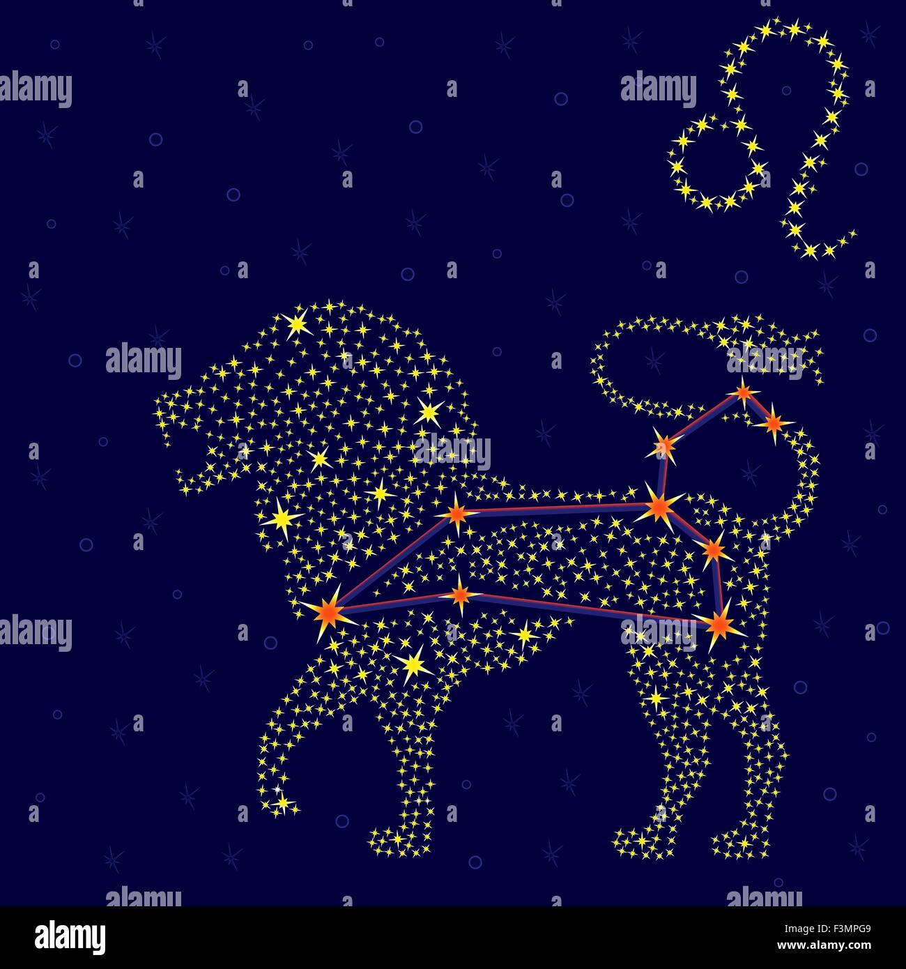 Zodiac Sign Leo On A Background Of The Starry Sky With The