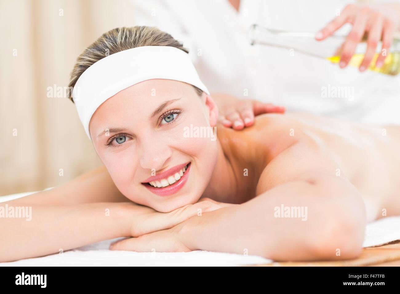 Beautiful Blonde Enjoying A Massag