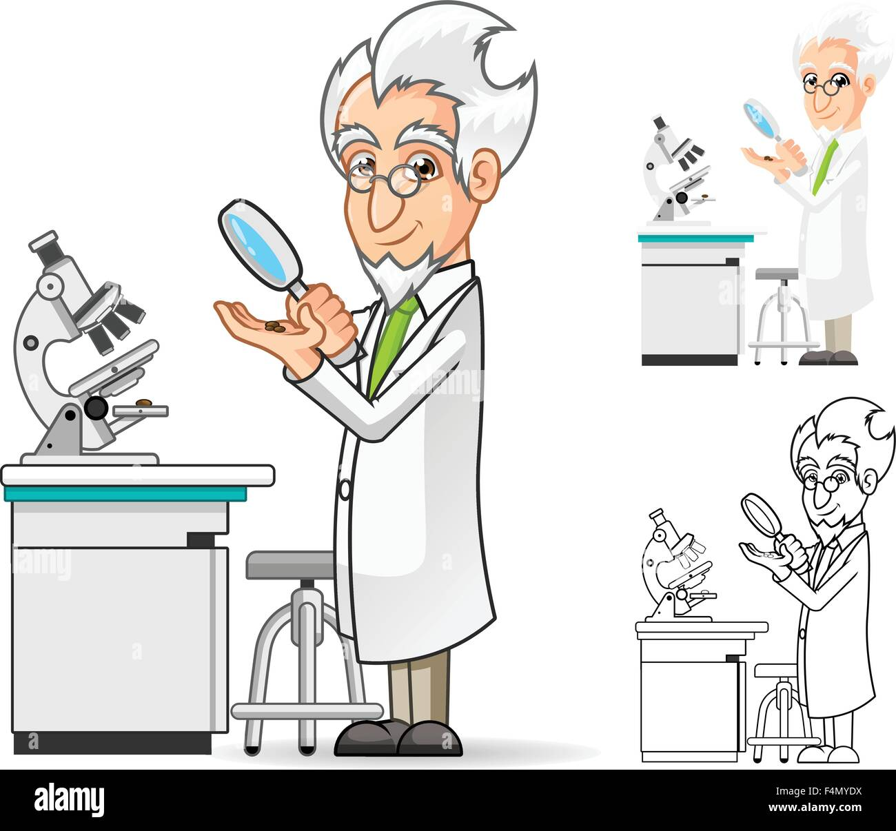 Scientist Cartoon Character Holding A Magnifying Glass