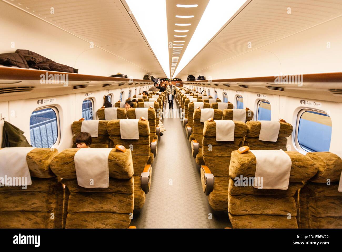 Japanese Shinkansen Bullet Train Interior Showing 2x2 Seating On The Stock Photo
