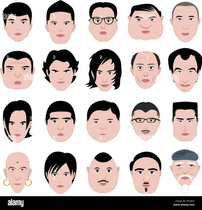 man face shape hairstyle round fat thin old stock vector art