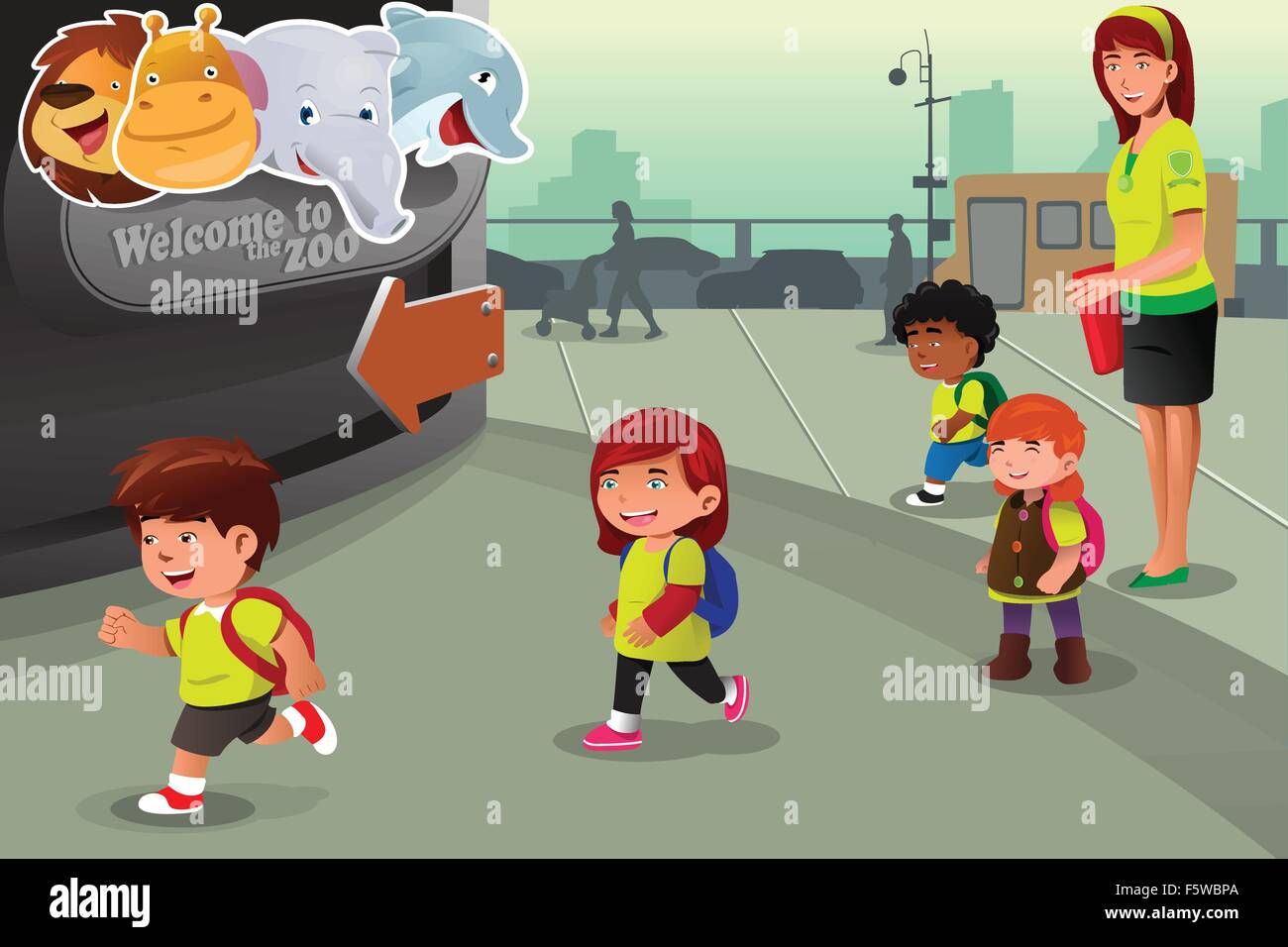 A Vector Illustration Of School Field Trip To A Zoo Stock