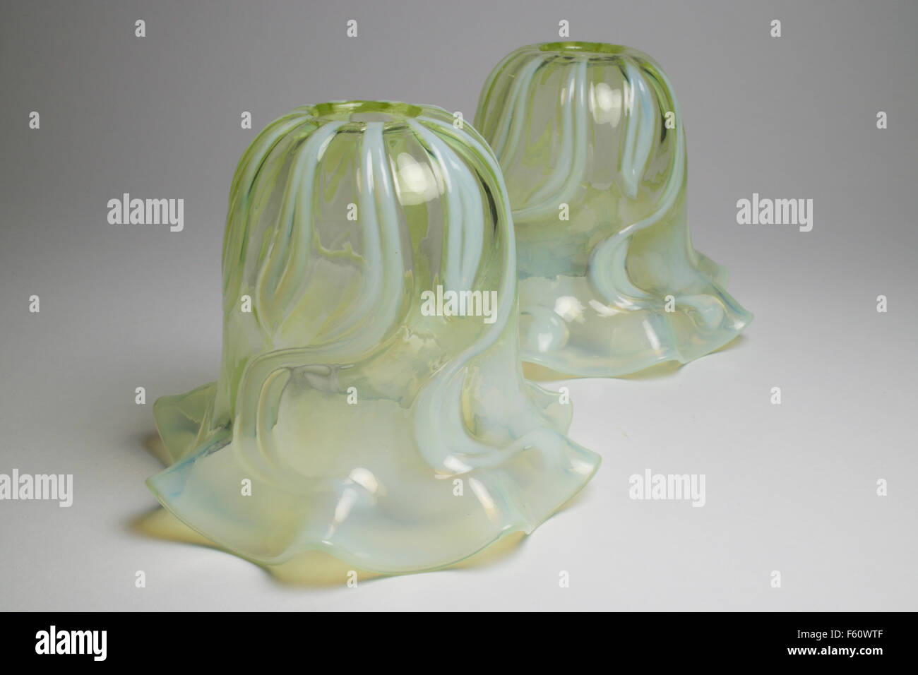 Antique Pair Of Art Nouveau Opalescent Glass Light Lamp Shades Stock Photo Alamy