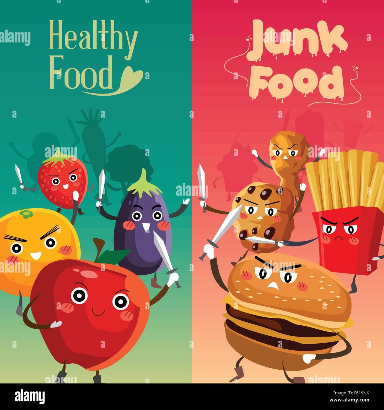 A Vector Illustration Of Healthy Food Versus Unhealthy