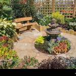 Garden With Seating Area Designed For A Small Space Stock Photo Alamy