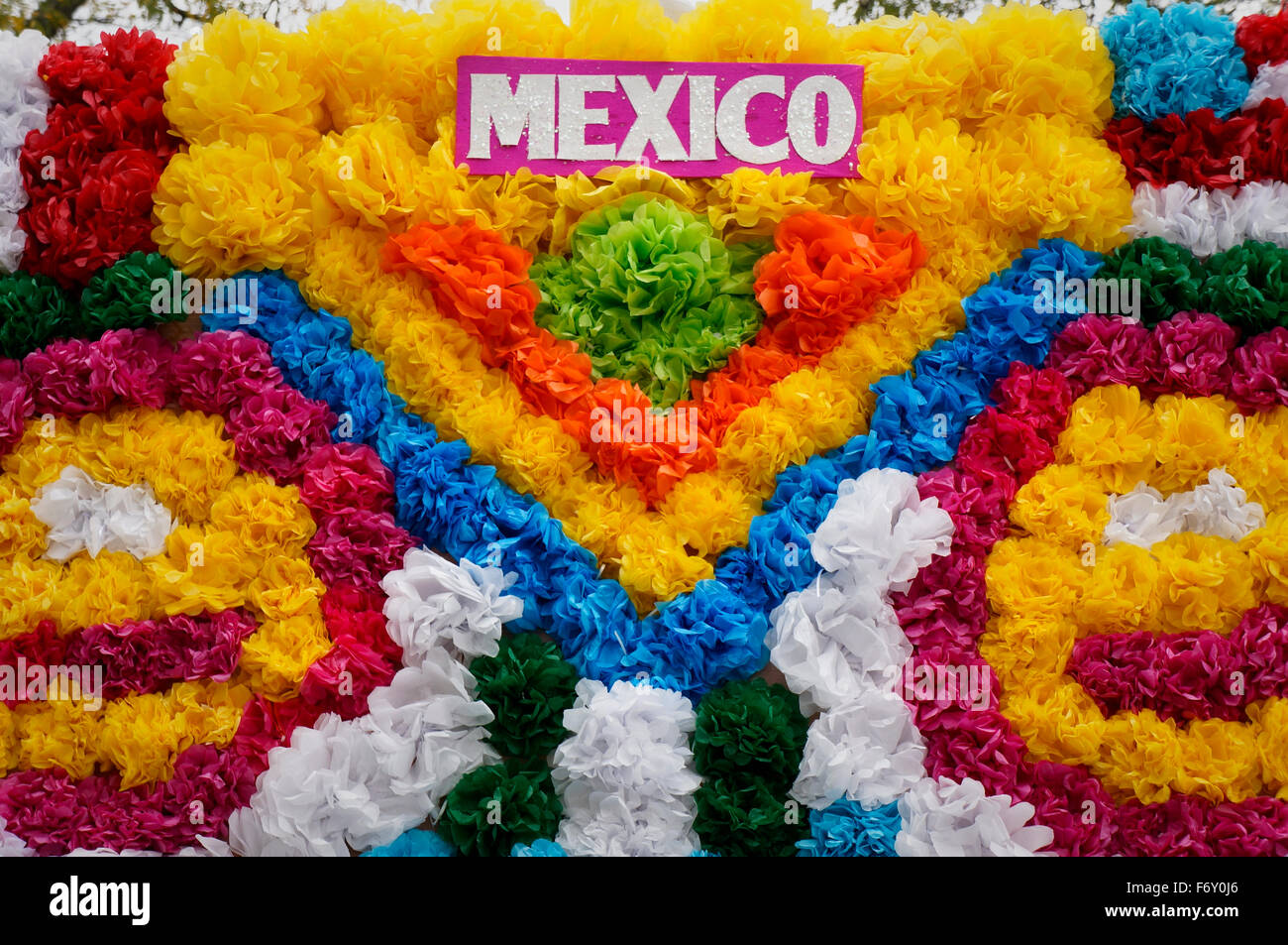 Crepe paper flowers on Mexican parade float Stock Photo  90332990     Crepe paper flowers on Mexican parade float