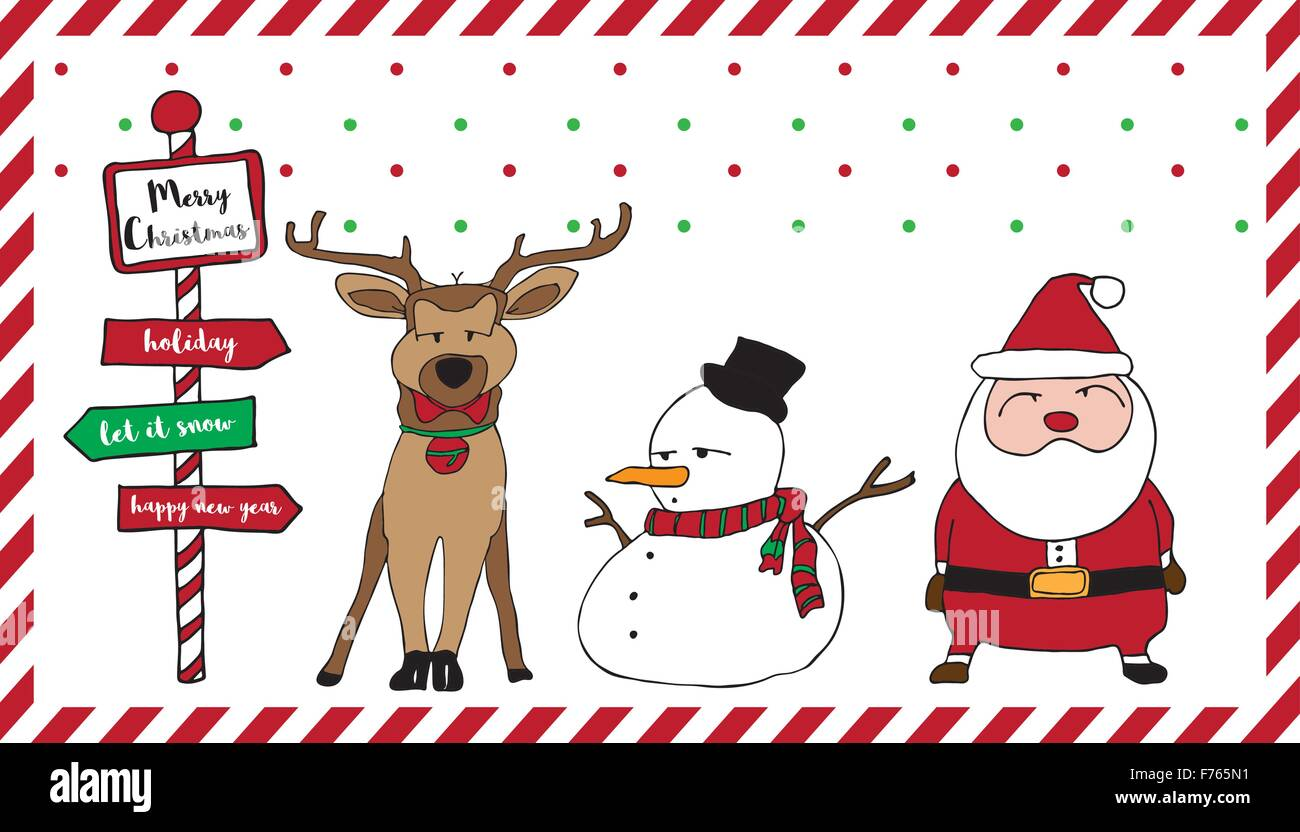 Merry Christmas Card Pattern With Santa Reindeer Snowman