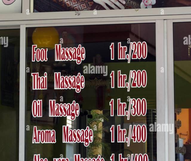 Thai Massage Parlour Offering Various Massages In Pattaya Thailand Stock Image