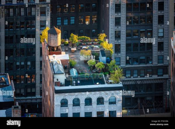 rooftop garden manhattan new york Aerial view of a Manhattan rooftop in the heart of New