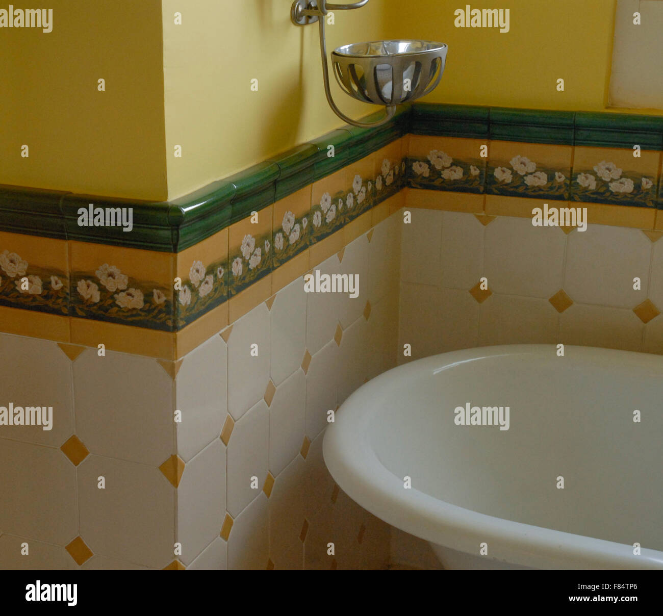 https www alamy com stock photo vintage hand painted mexican tile bathroom and tub 91076334 html