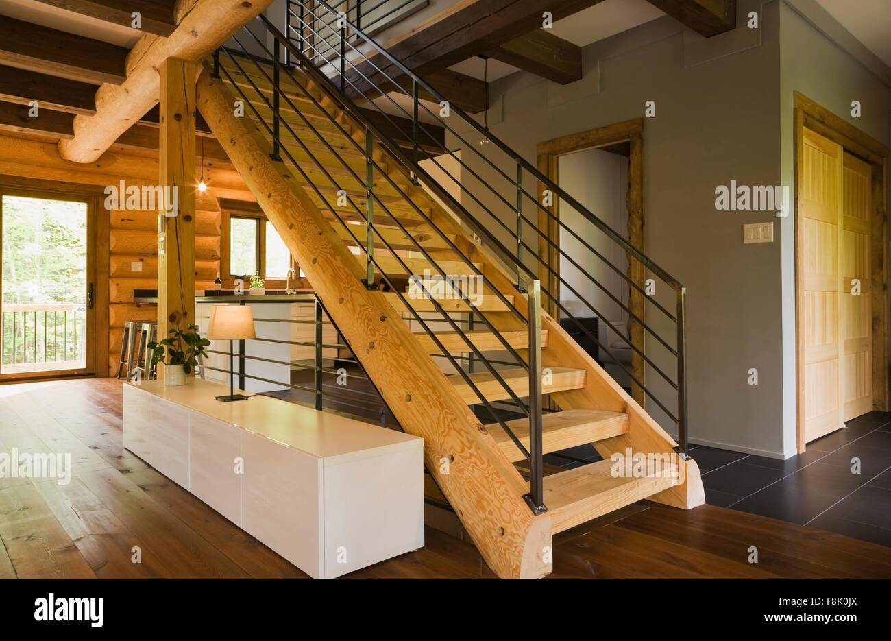 Wood Stairway With Wrought Iron Railings In Modern Eastern White | Pine Handrail For Stairs | Stair Parts | Anti Slip | Handrail Brackets | Stair Treads | Wood Stair