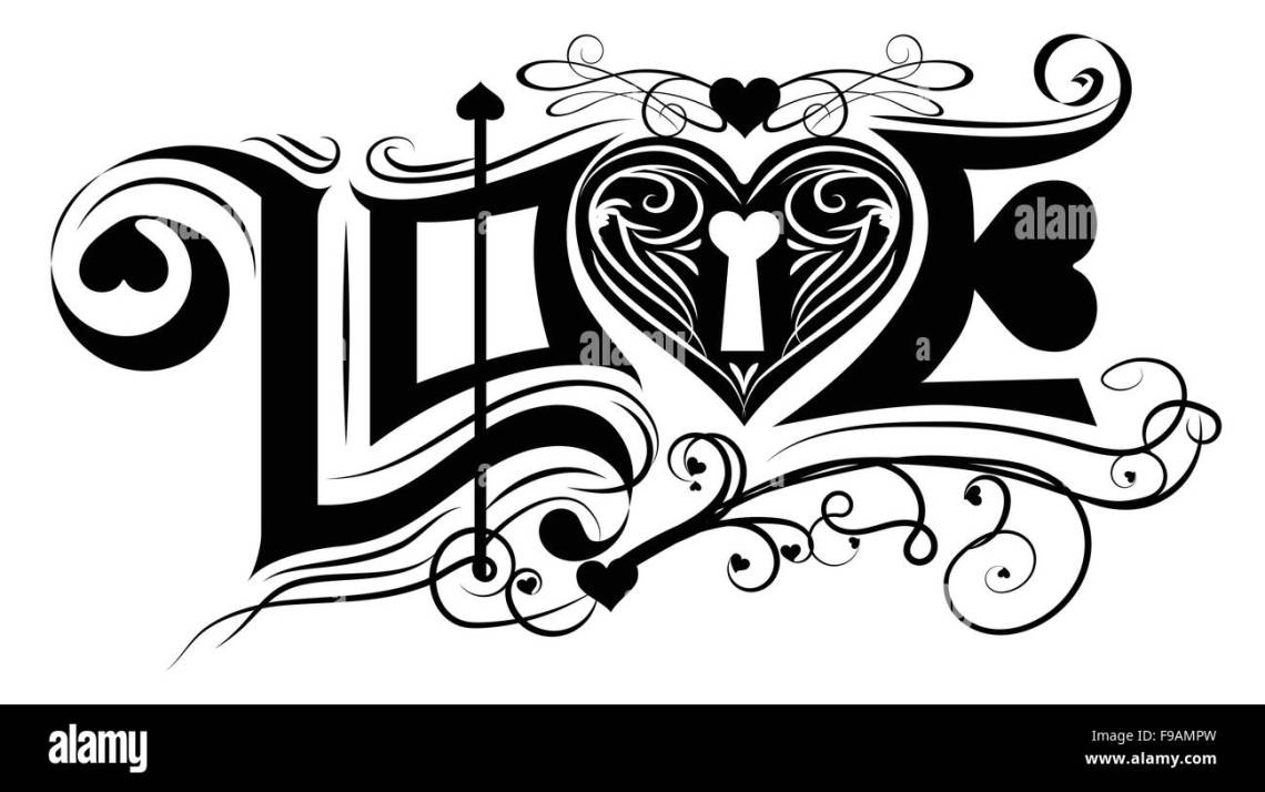 Download Love typography vintage classic black and white vector ...
