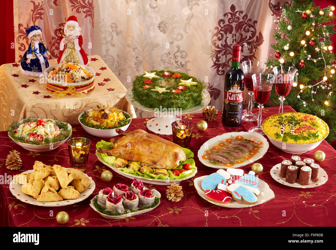 Russian Christmas Menu Stock Photo