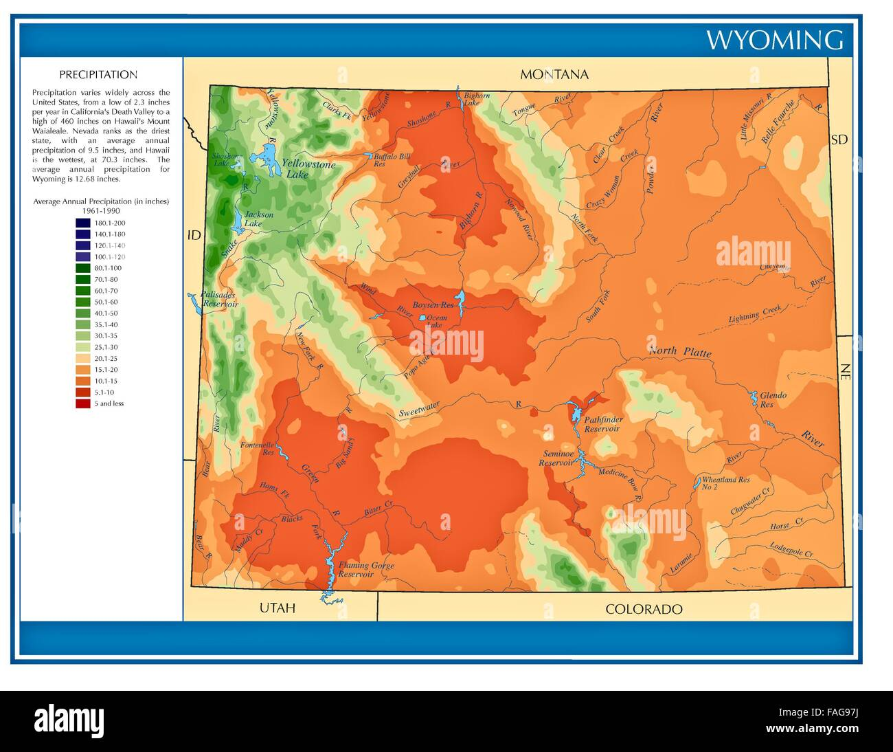 Wyoming United States Water Precipitation Statistics Map