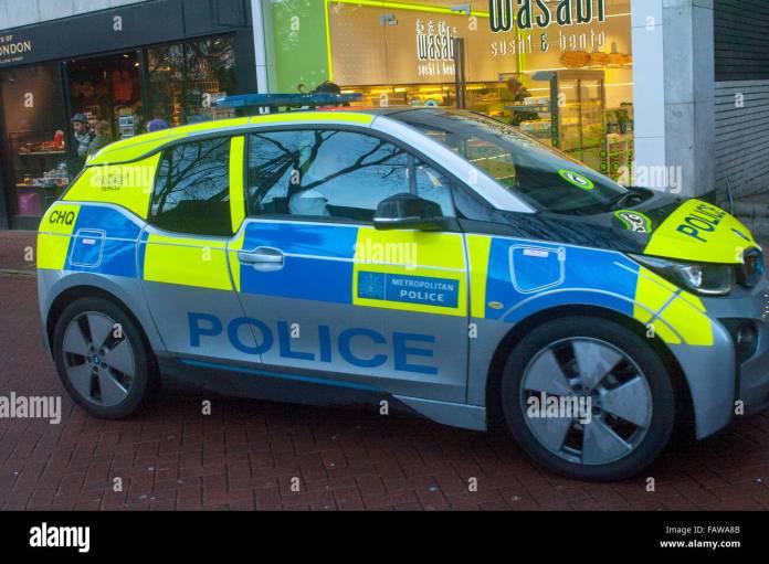 london, uk, 04 january 2016, metropolitan police bmw 13 electric car