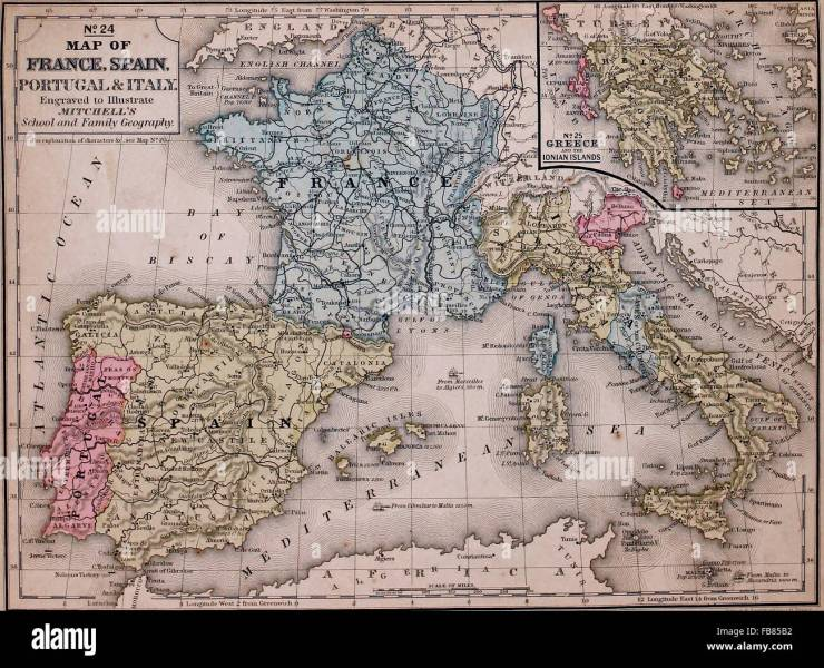 Map of France  Spain  Portugal and Italy with a Greece inset  circa     Map of France  Spain  Portugal and Italy with a Greece inset  circa 1861