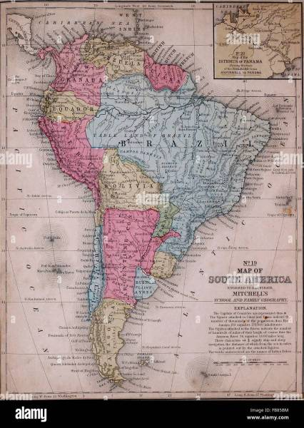 Map of South America  circa 1861 Stock Photo  92992920   Alamy Map of South America  circa 1861