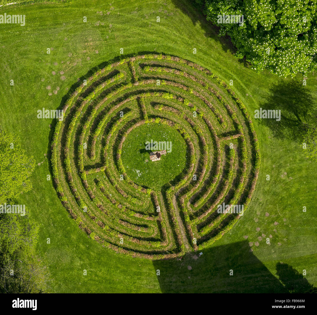 Aerial View Circular Labyrinth Am Steinfeld Monastery In