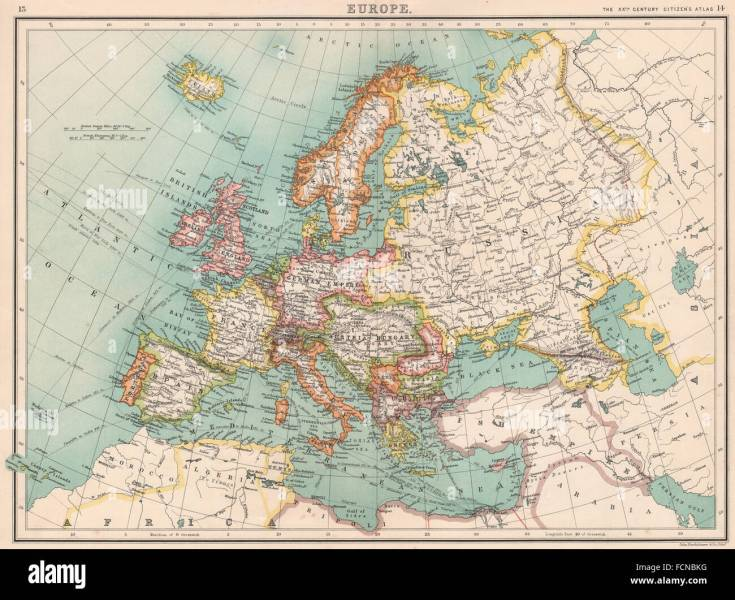 EUROPE  Political map  Shipping routes  Telegraph cables Stock Photo     EUROPE  Political map  Shipping routes  Telegraph cables  BARTHOLOMEW  1901